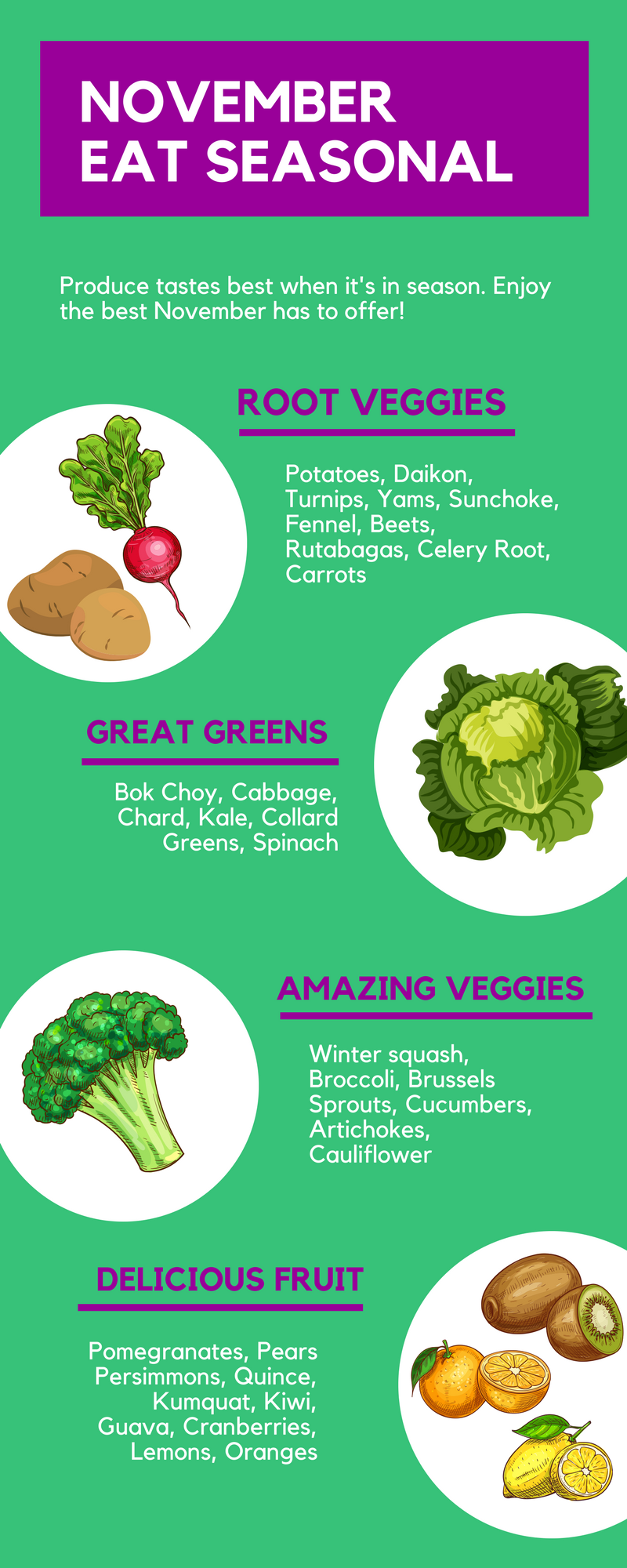 What's in Season in November? A handy guide to the fruit and vegetables that are in season in the month of November | This Healthy Table