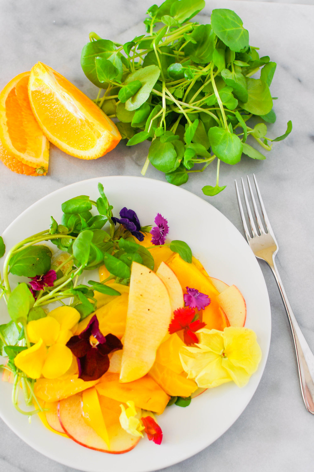 Beet, apple, and watercress salad with a zesty dressing. A wonderful, vegan side salad or main course | This Healthy Table