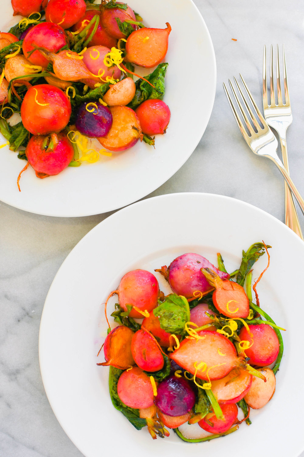 Brown Butter Radishes with Lemon. A flavorful, healthy side salad (vegetarian) | This Healthy Table