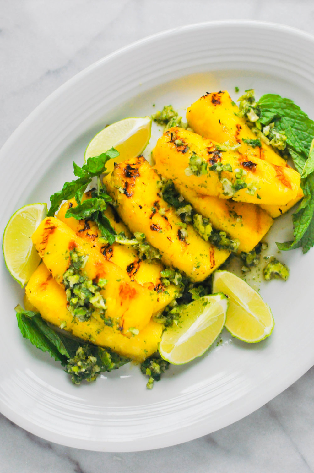 Grilled Pineapple with Lime Mint Sauce - a healthy, fruity dessert (vegan) | This Healthy Table