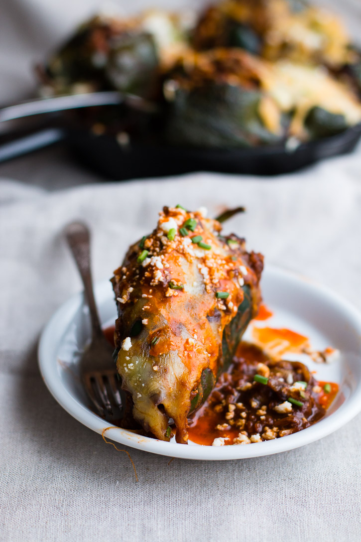 Turkey Enchilada Stuffed Poblano Peppers from Meg is Well