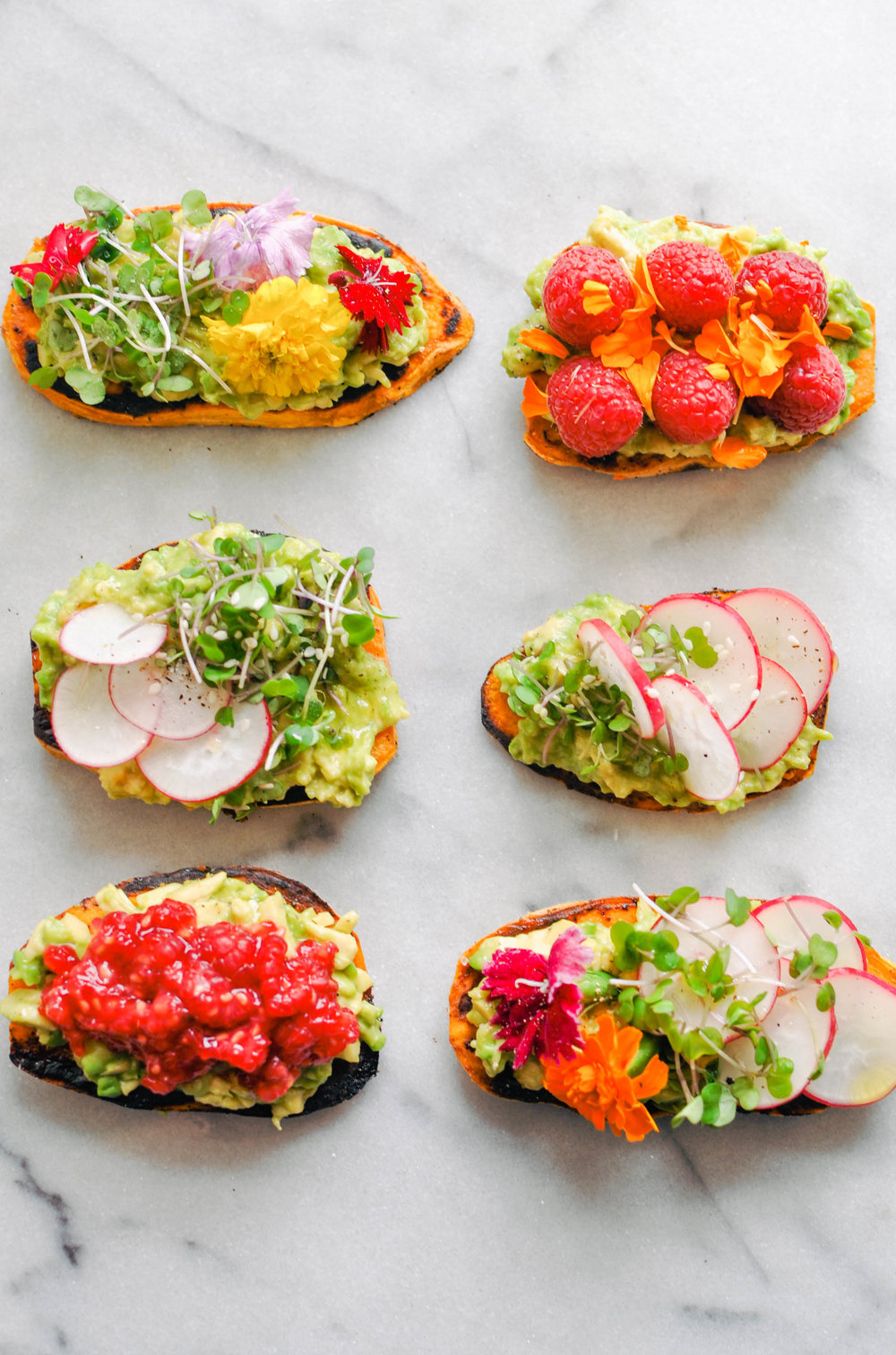 "Avocado Sweet Potato ""Toast"". A vegan, healthy breakfast or snack with plenty of fun add-ons 