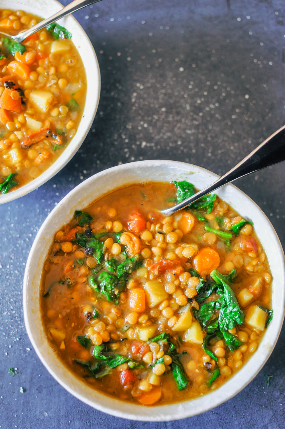 Vegan Lentil Soup with Carrots & Potatoes. This soup is super-simple to make and yields several servings of delicious vegan goodness.