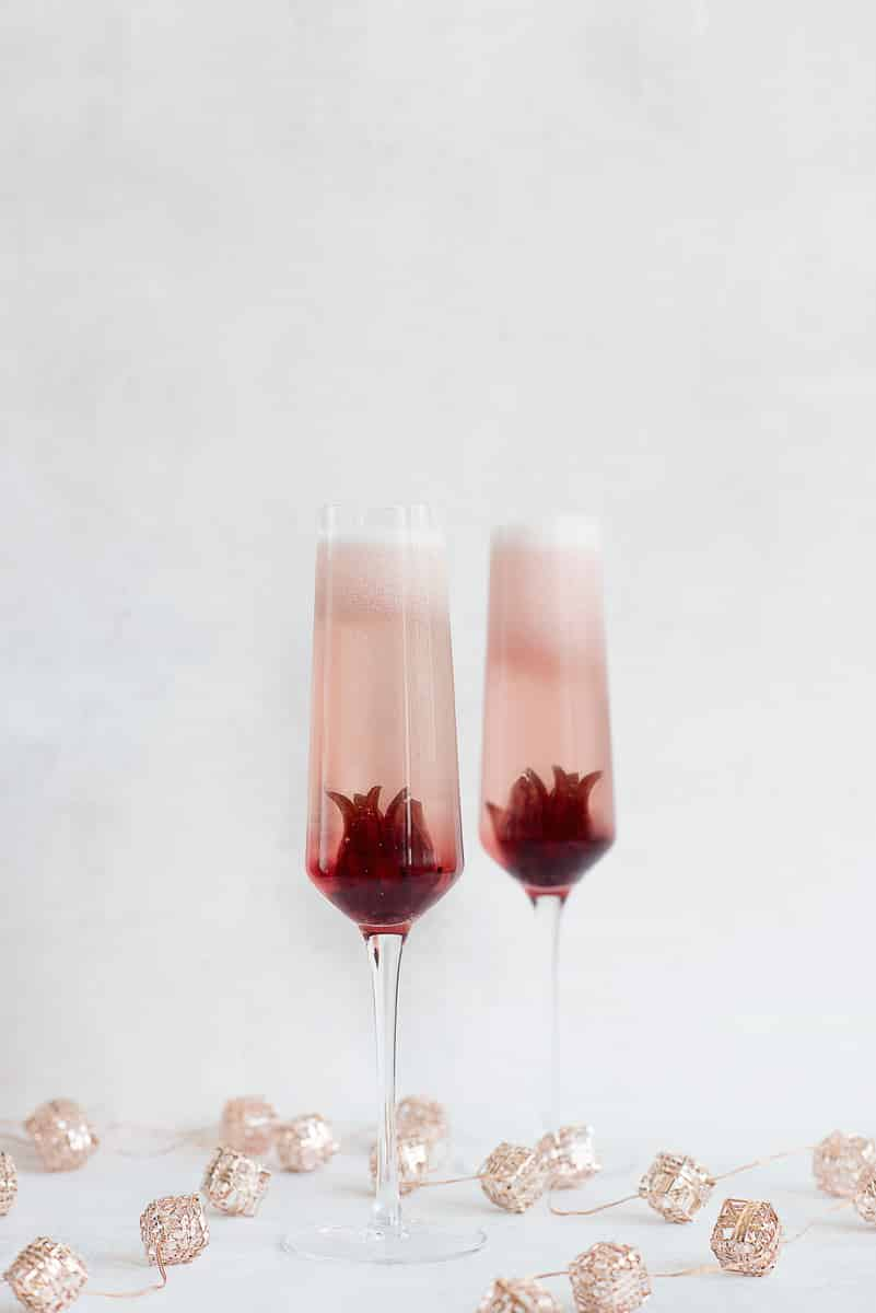 Ombre Hibiscus Prosecco Cocktail Recipe from A Side of Sweet