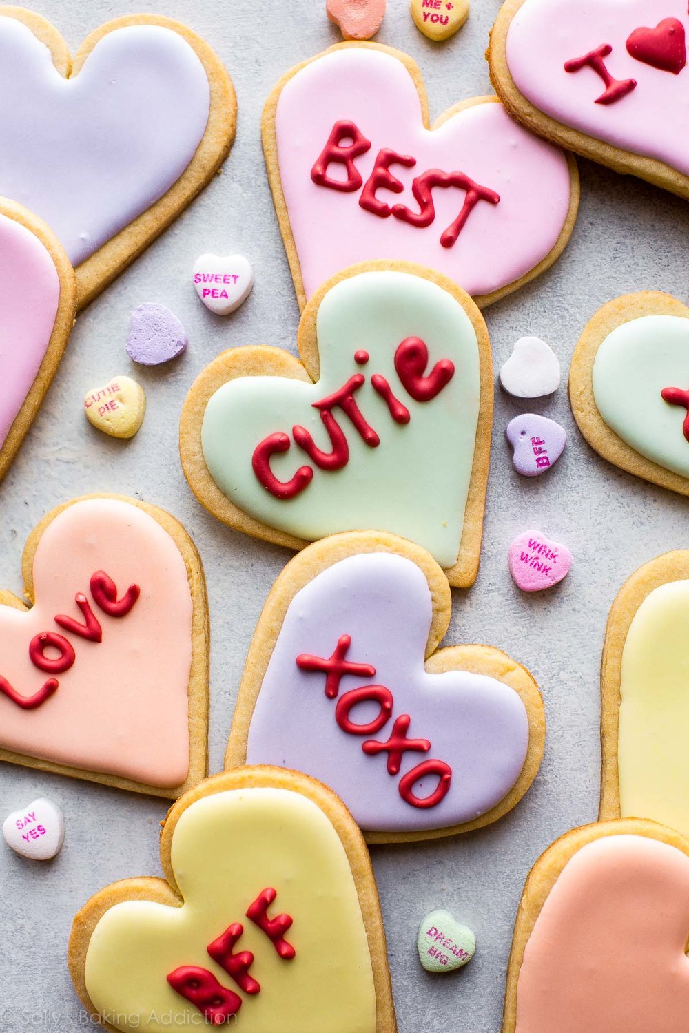 Valentine's Day Heart Sugar Cookies from Sally's Baking Addiction. Get the recipe here. -