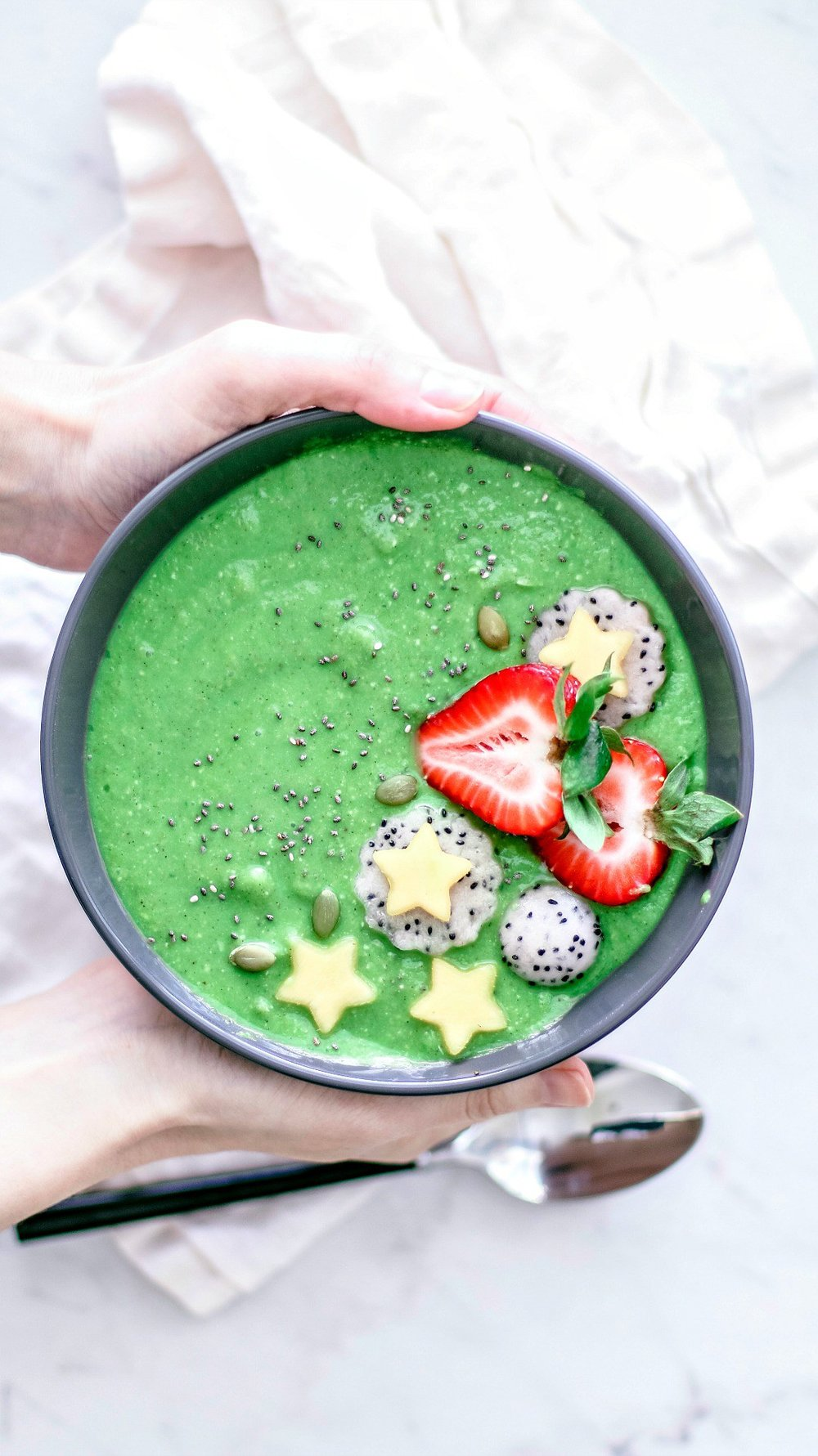 Healthy Green Smoothie Bowl With Broccoli Rabe from Killing Thyme