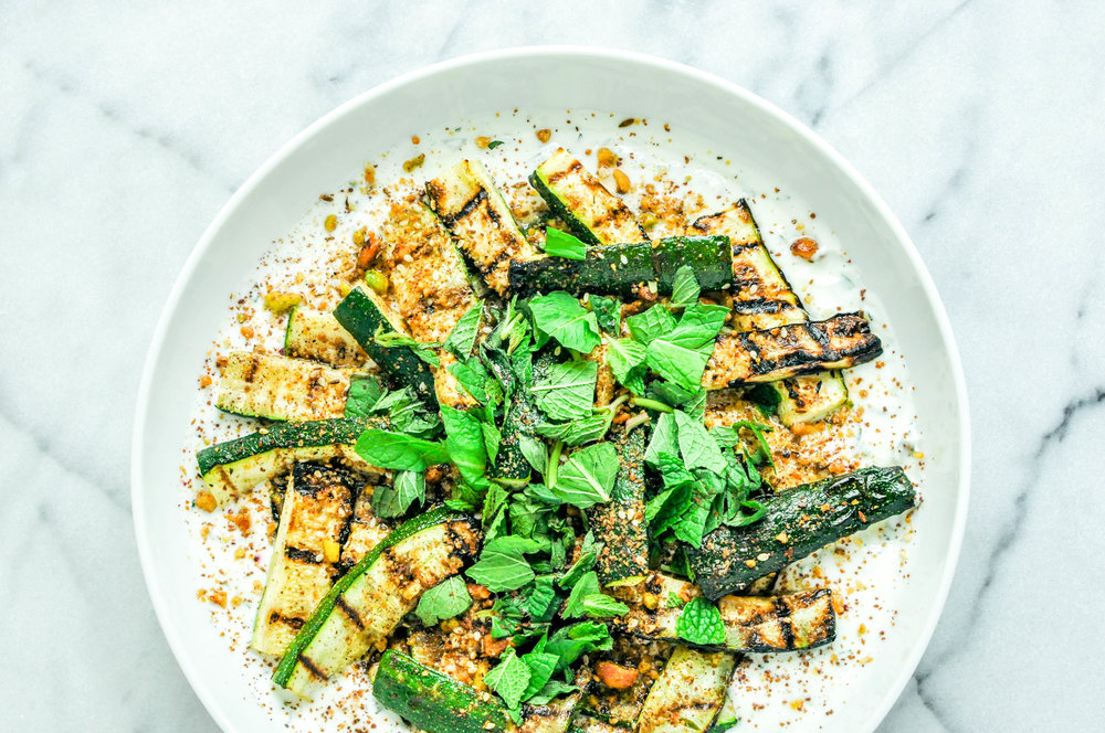Roasted Zucchini with Yogurt, Dukkah, & Sumac