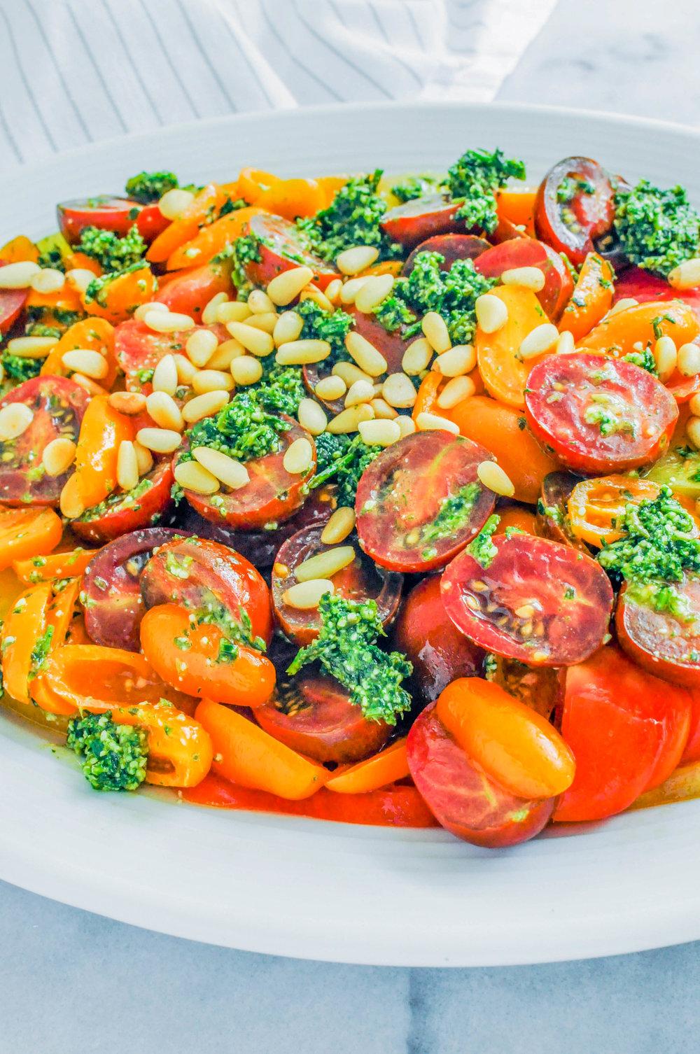 Easy Tomato Salad with Tarragon Pesto | This Healthy Table