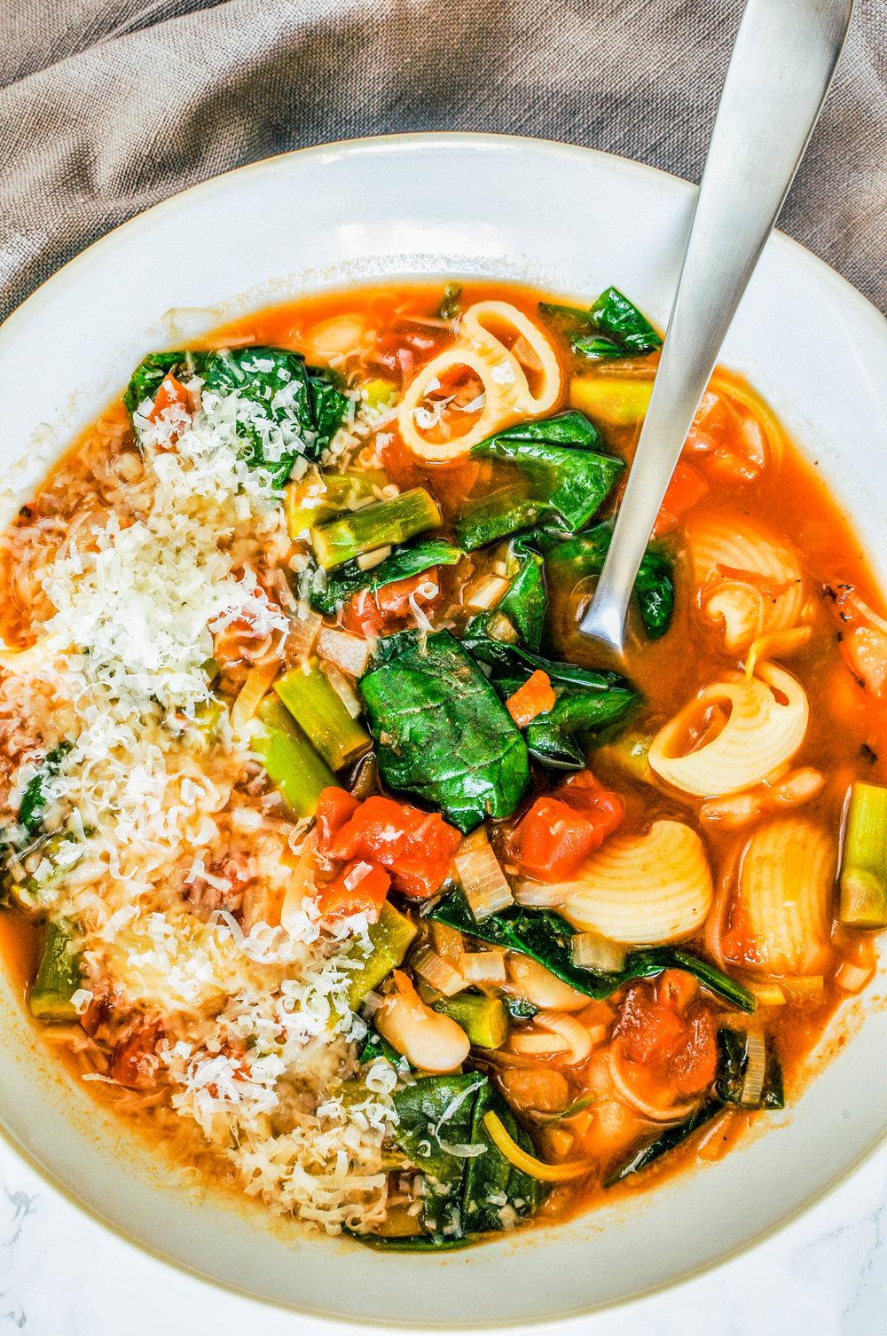 Springtime Minestrone Soup - a delicious, vegetarian dinner recipe.