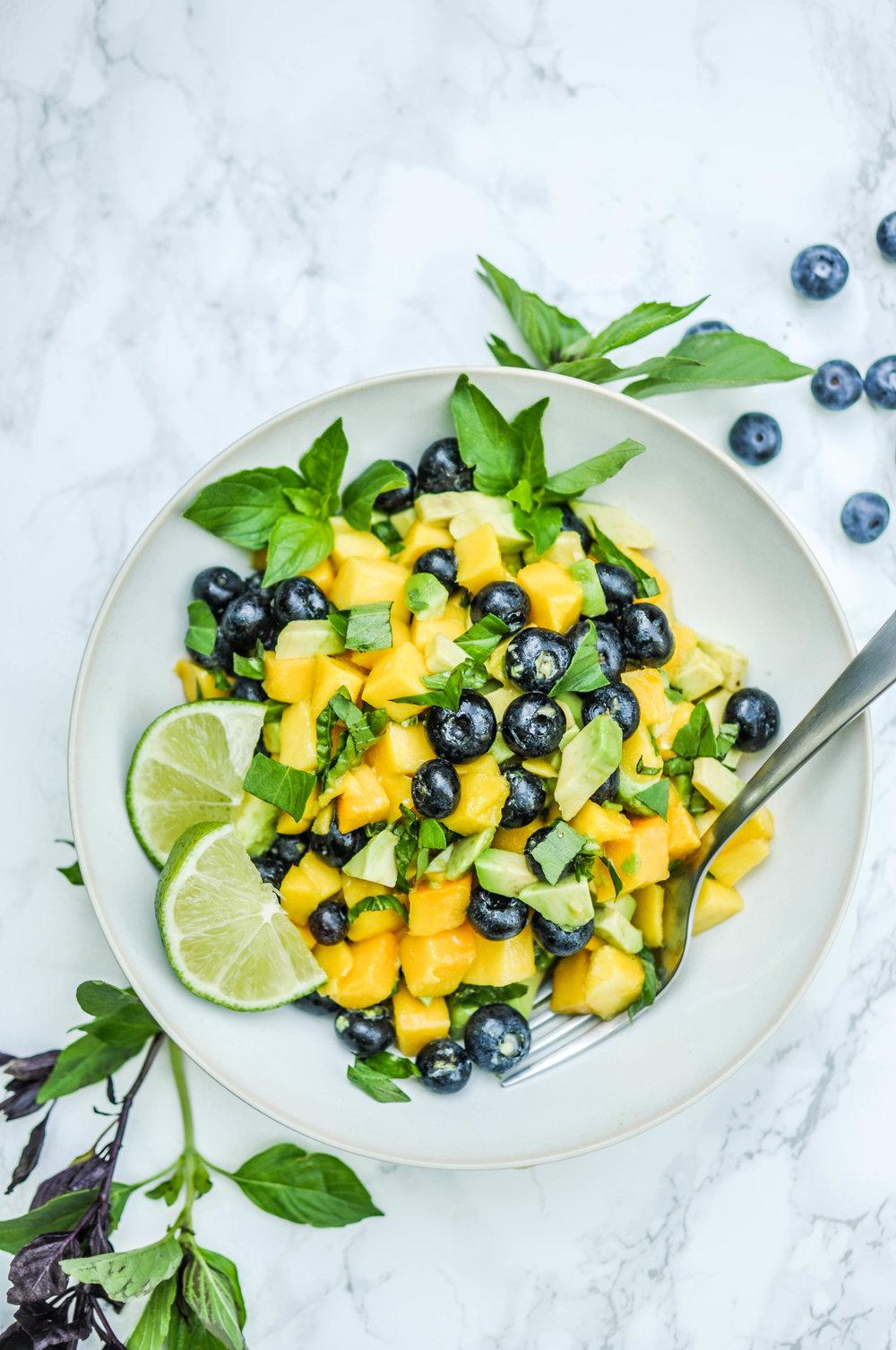 Mango Avocado Salad with Blueberries, Lime Juice, & Herbs. Vegan, Vegetarian, Quick, & Easy.