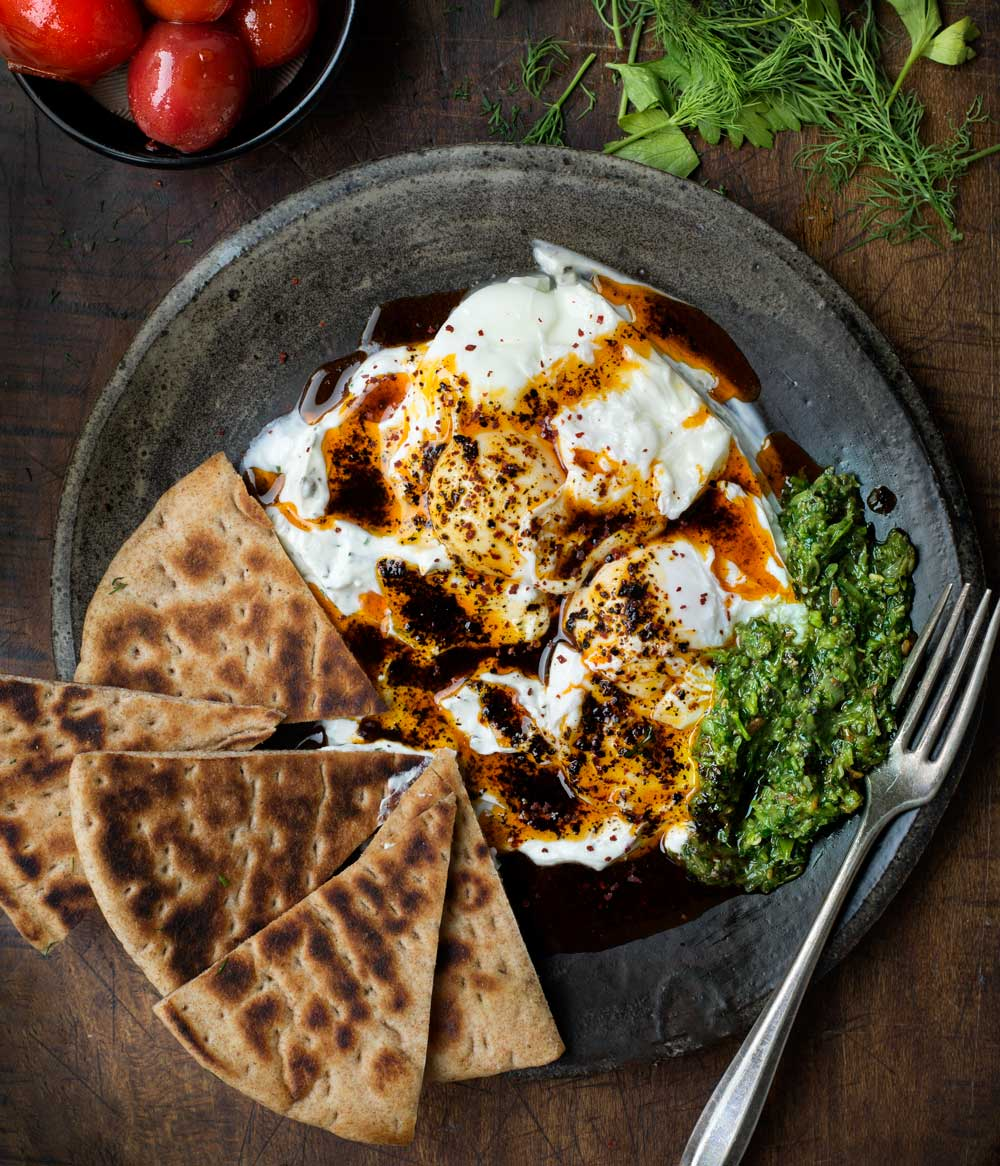 Turkish Style Poached Eggs with Urfa Biber from WIld Greens & Sardines