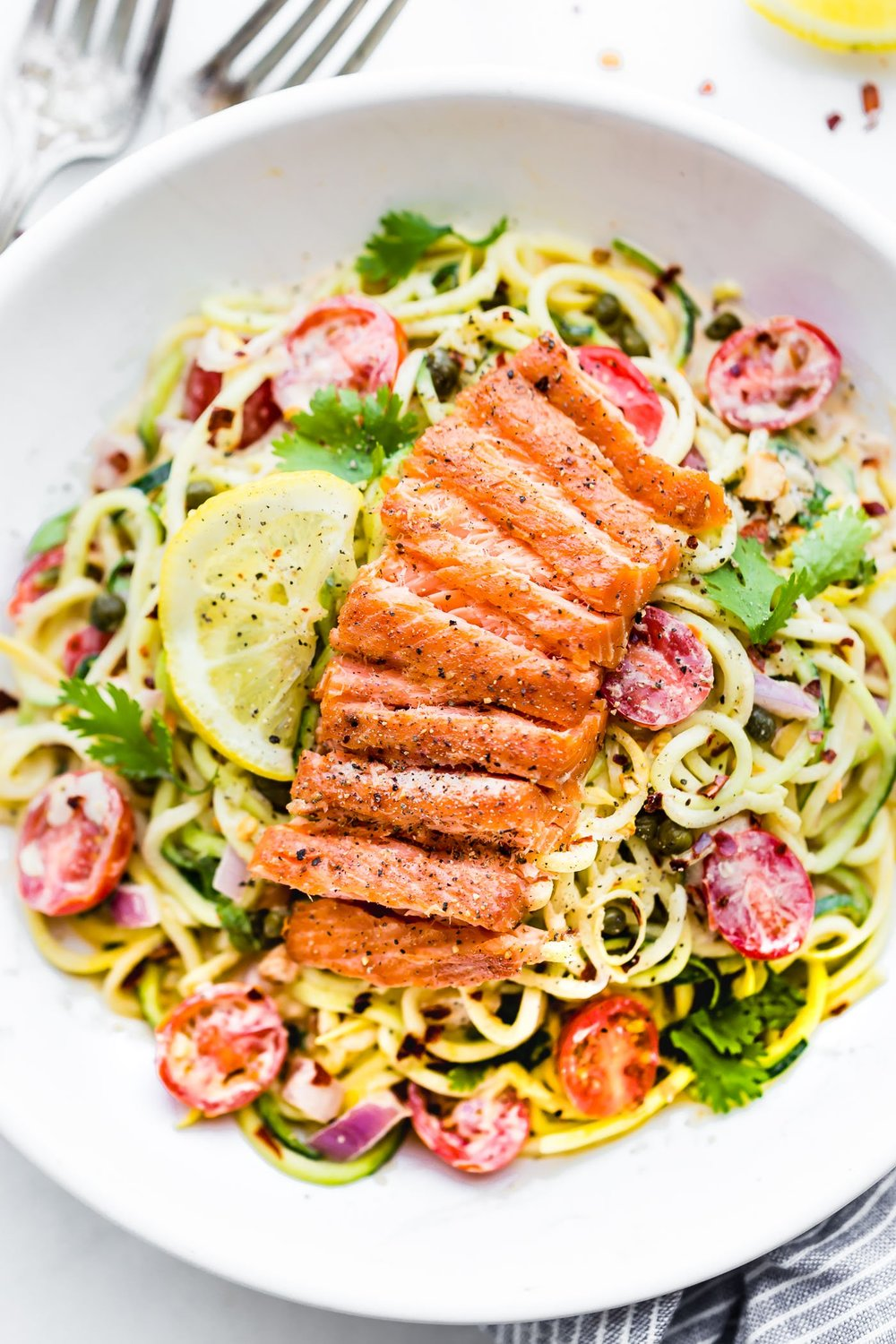 Cajun Smoked Salmon Zucchini Noodle Salad from Cotter Crunch. Get the recipe here. -