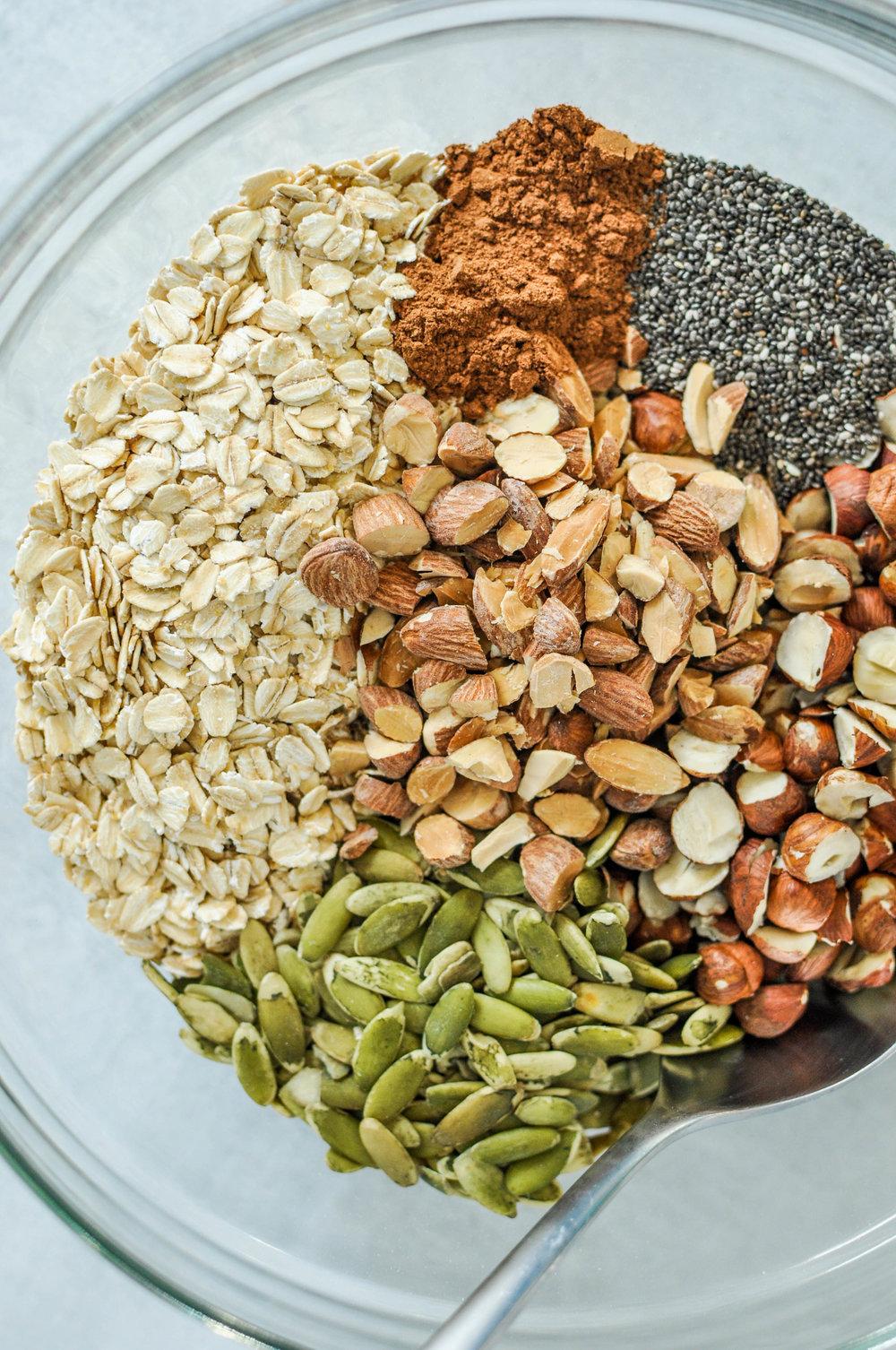 Best Ever Homemade Granola Recipe. Dry Granola Ingredients.
