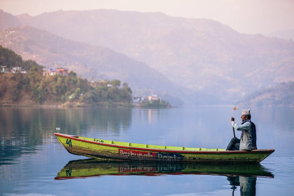 Boat on Lake Phewa in Pokhara, Nepal