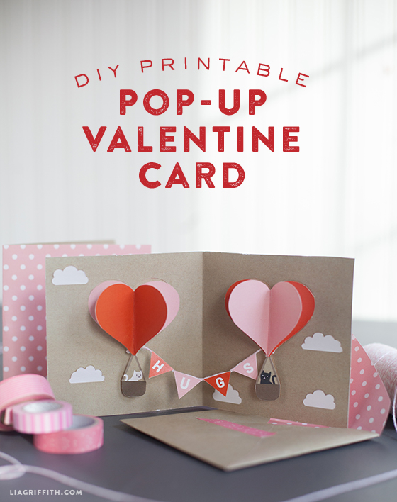 DIY Valentine's Pop-Up Card with Heart Balloons from Lia Griffith