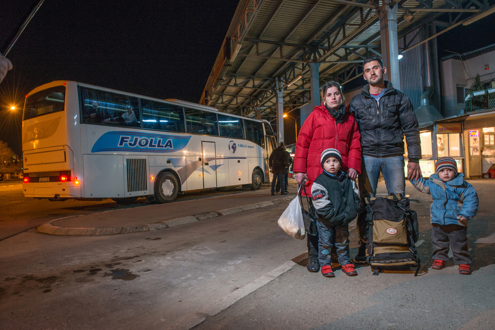 Sherif and his family wait for the bus to take them to an uncertain future. D800E with 24-70 2.8 and SB-91