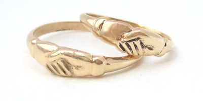 14K gold clasped hand rings. Click to browse Wedding and Engagement