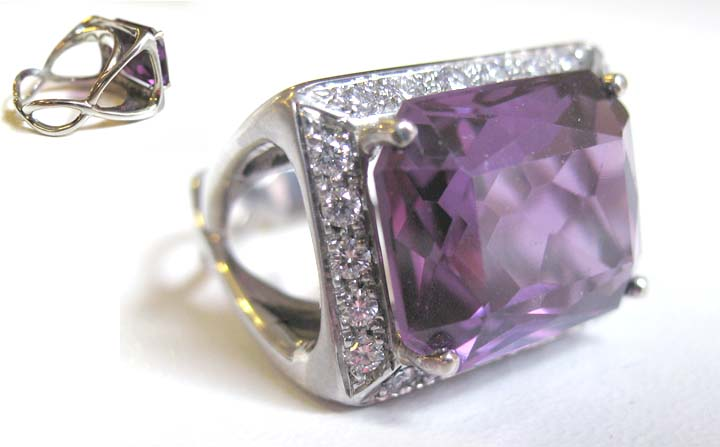 White gold ring with heirloom amethyst and diamonds