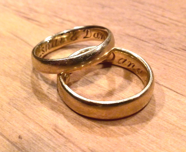 14 karat gold comfort fit wedding bands with engraving Handmade