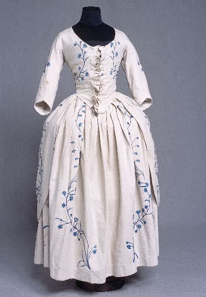 Original 18th century gown embellished with embroidery.