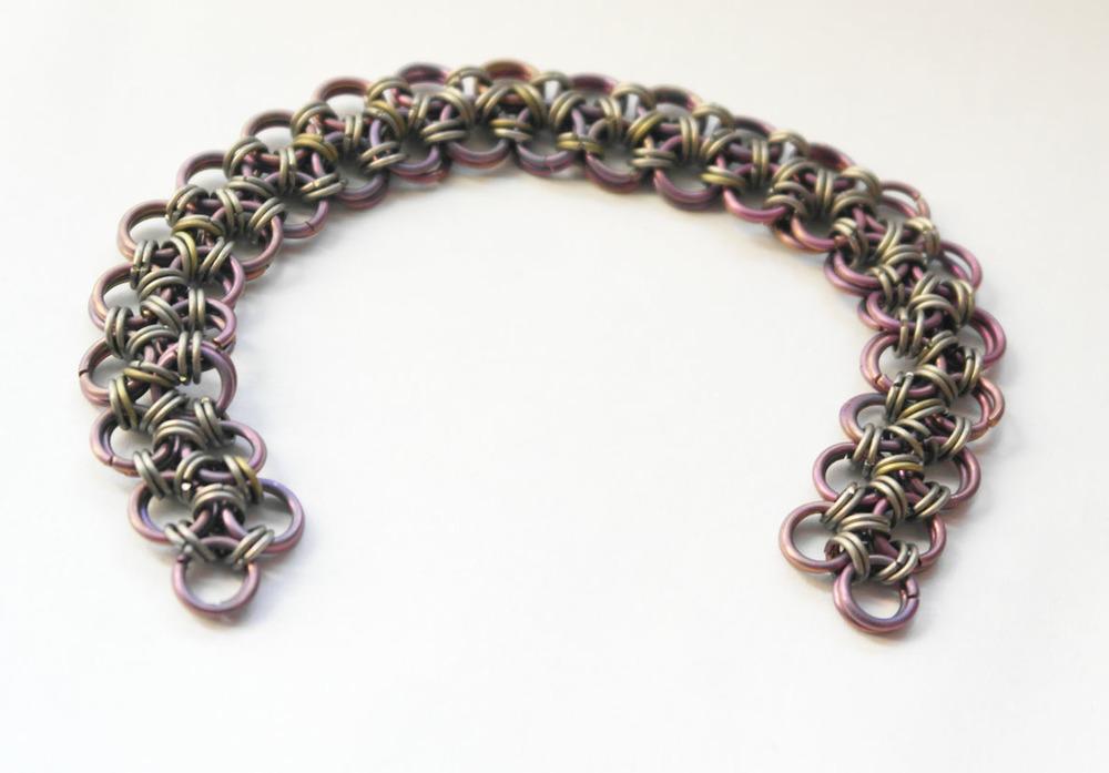 A titanium bracelet in a Japanese weave.