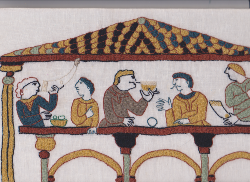 Embroidered feast scene from copied from the Bayeux Broderie. By Aurora