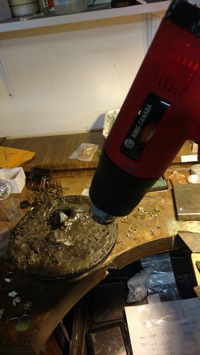 I use a heat gun to soften pitch