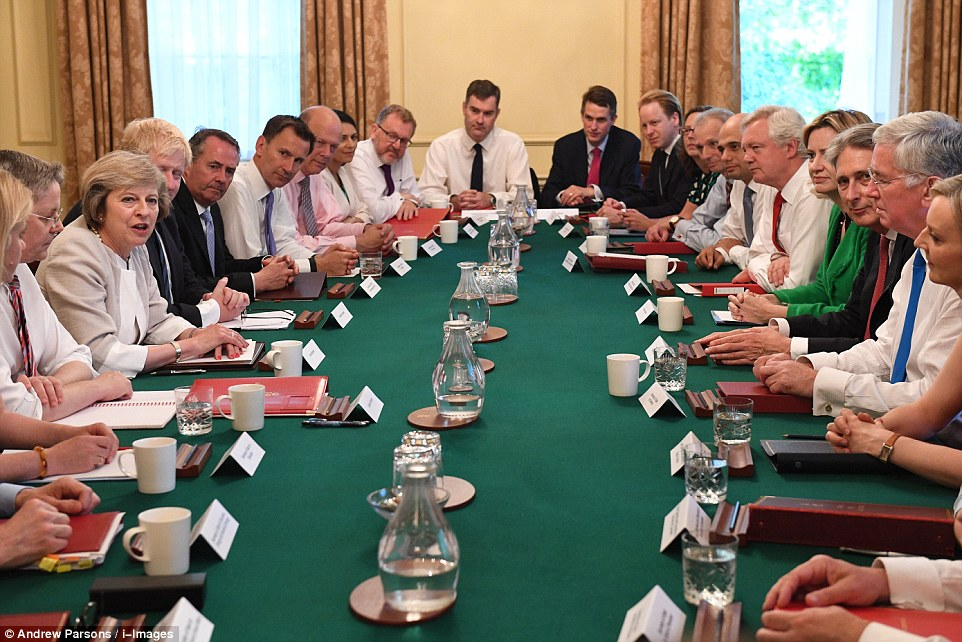The current PM is Theresa May and this is her cabinet.