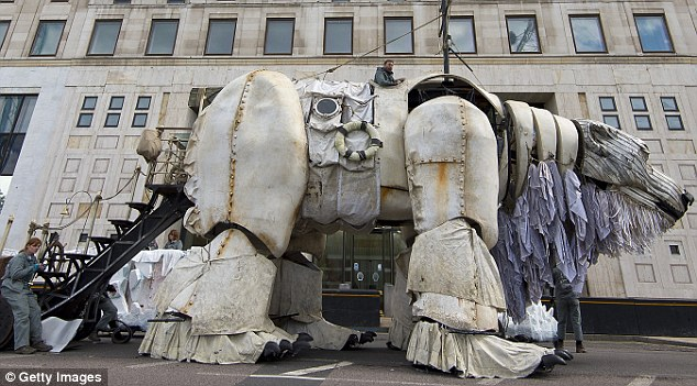 Greenpeace drew attention to Shell's drilling in the arctic by creating a huge polar bear sculpture outside their HQ in London
