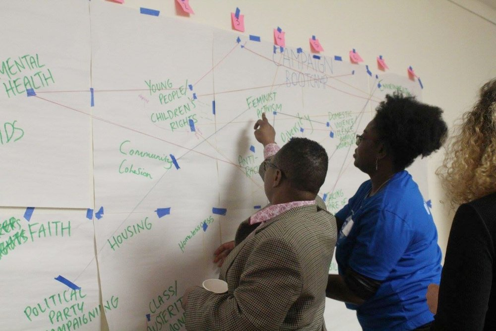 Image Description: Aderonke and Karen stand in front of mindmapping exercise with post-its on on the wall. Aderonke points to the words 'Feminist activism'