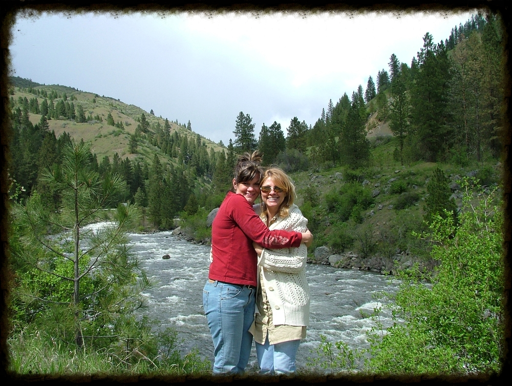 Kendra visiting Cheryl in Idaho 2007. Don't let the sun fool you, it was cold standing in the mountain air.