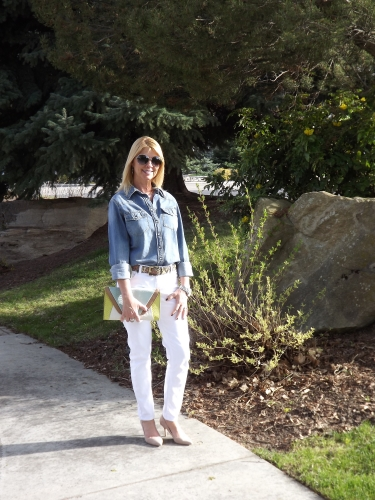 Target denim shirt, KUT white jeans, MK leopard belt and watch and Ivanka Trump suede pumps.