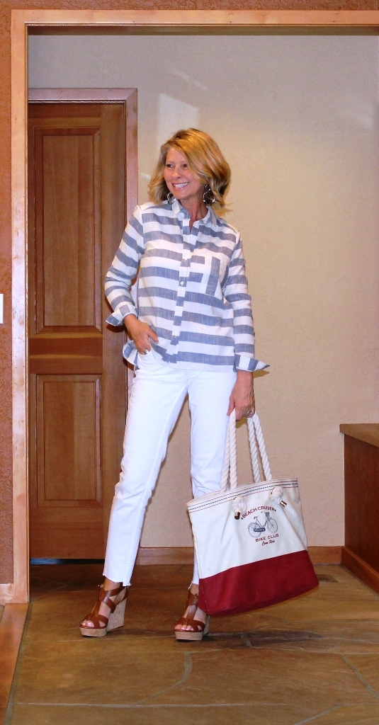 Nautical look! Stripped top, tan wedge shoes, red and white canvas bag!