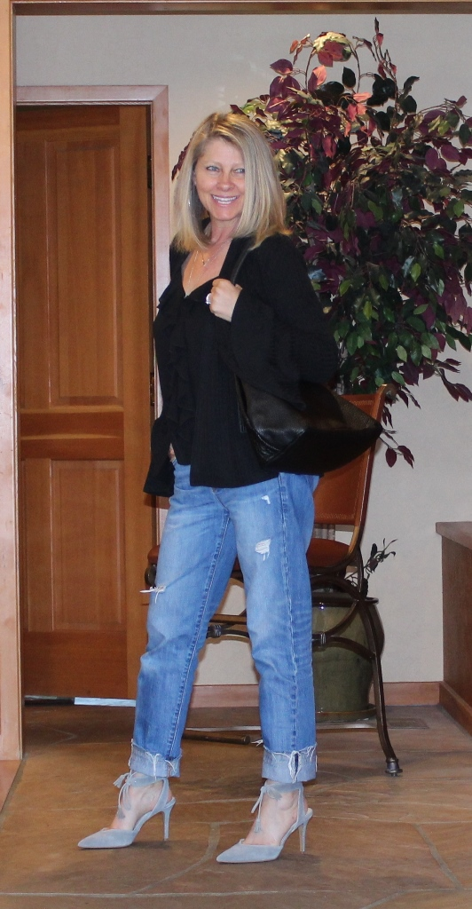Click on picture for full post. Rockin' Denim Over 40 On Northwest Mountain Living & Style DIY Ripped Hem Boyfriend Jeans
