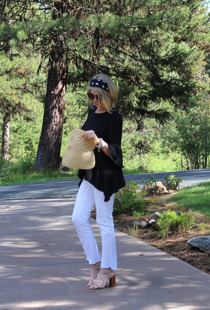 Click on picture for full post. Rockin' Denim Over 40 On Northwest Mountain Living & Style DIY Step Hem Skinny Jeans