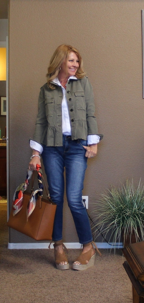Field Jackets, Scarves & Platform Shoes - Gosh I saw this jacket online by way of Crazy Blond Life blog and fell in love! I knew I would be able to style it in so many ways. You may get tired of seeing it. It comes in a dark blue too that is beautiful.