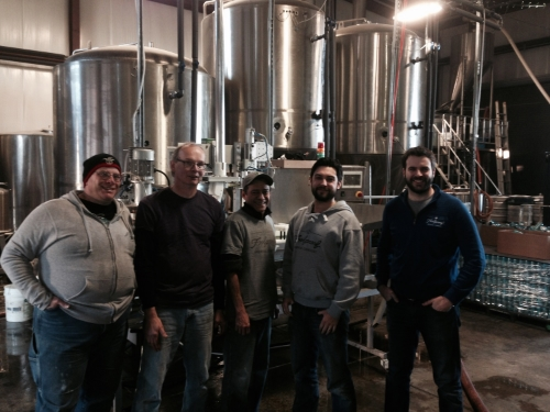Left to right - Damase Olsson, Brewmaster - Bill Dillon, Packaging Manager - Miguel Rivera, Packaging Assistant - Stefano DeAngelis, MA sales manager - Nick Garrison, President and Founder