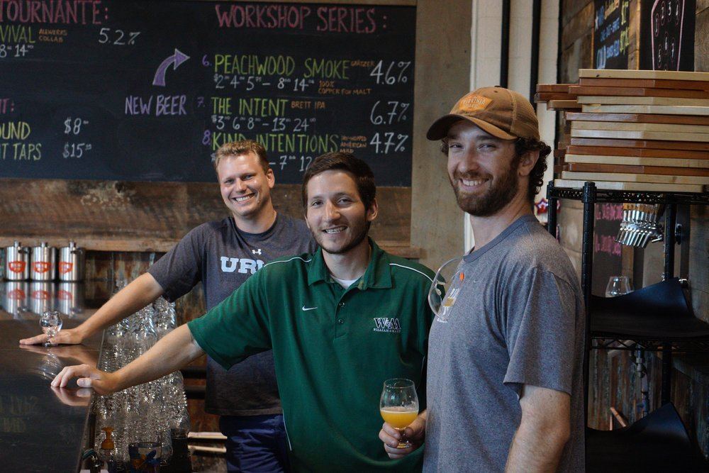 Left to right: Robby Willey, Chris Smith, and Head Brewer Jonathan Newman.