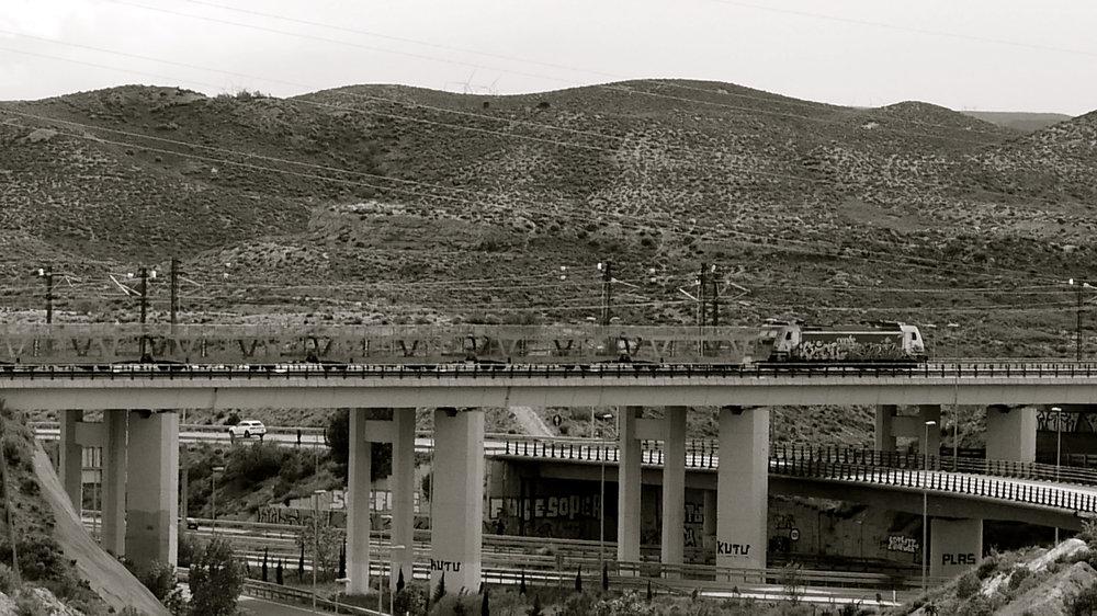 Tren mimetizado por la estepa