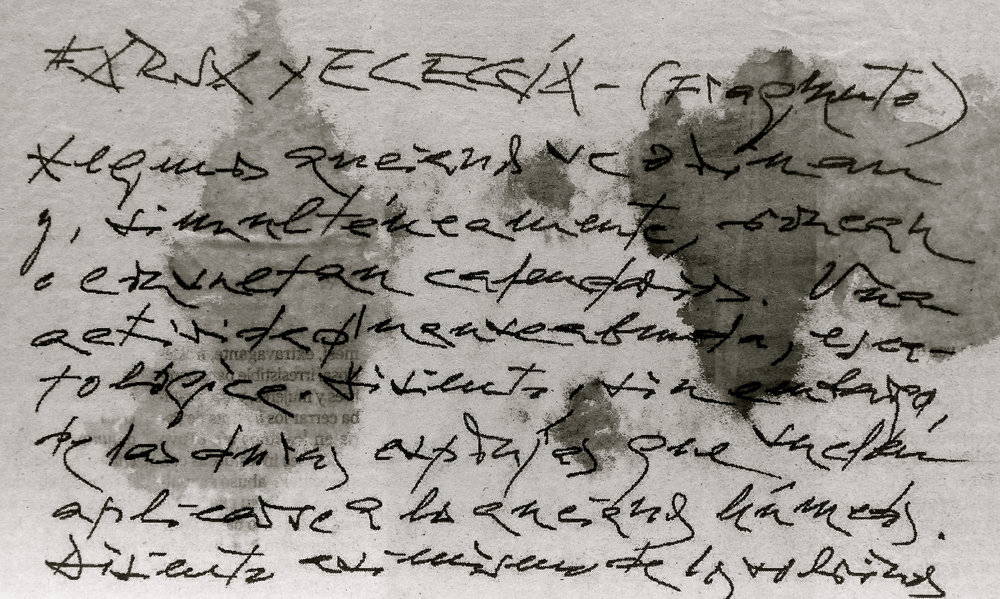 Manuscrito  FARSA Y ELEGÍA de Antonio Gamoneda