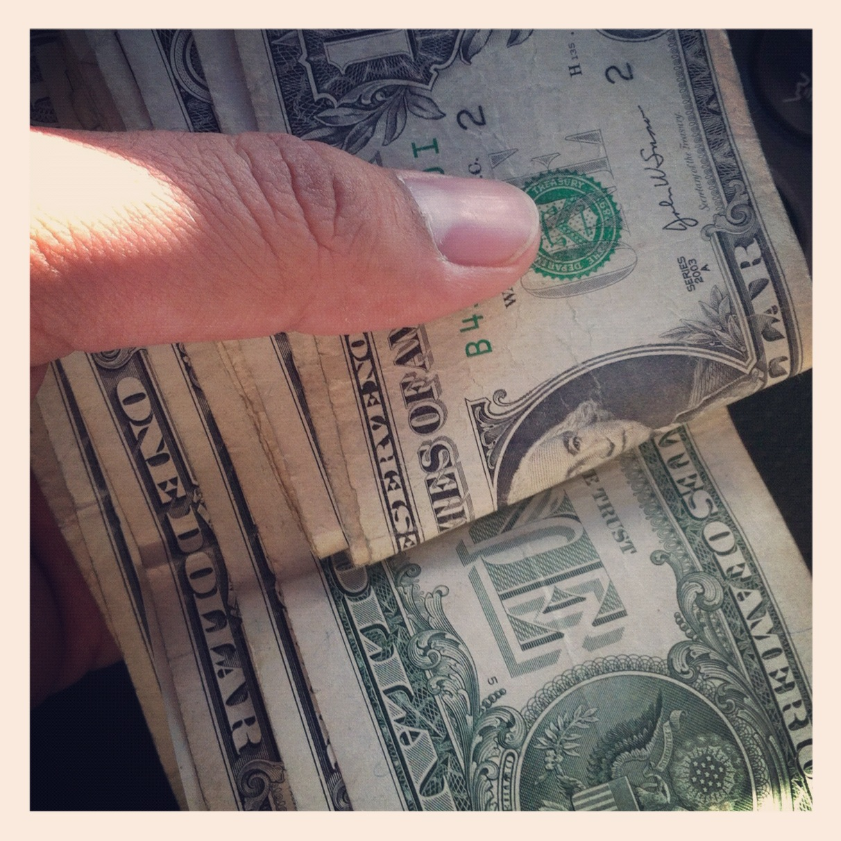 Ever have that awkward moment, the day after hitting the strip club where you have a fist full of singles?