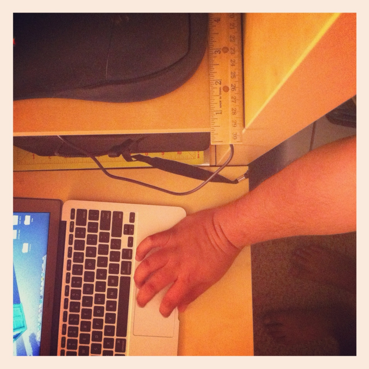 While working on some correspondence this evening, I looked down and realized I had ape like hands.