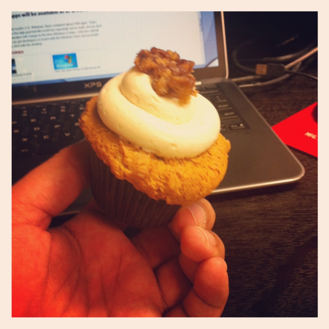 One of the nice things about working with people whom are concerned about your sweet tooth, is coming back from lunch and finding a Butter Pecan cupcake on your desk.