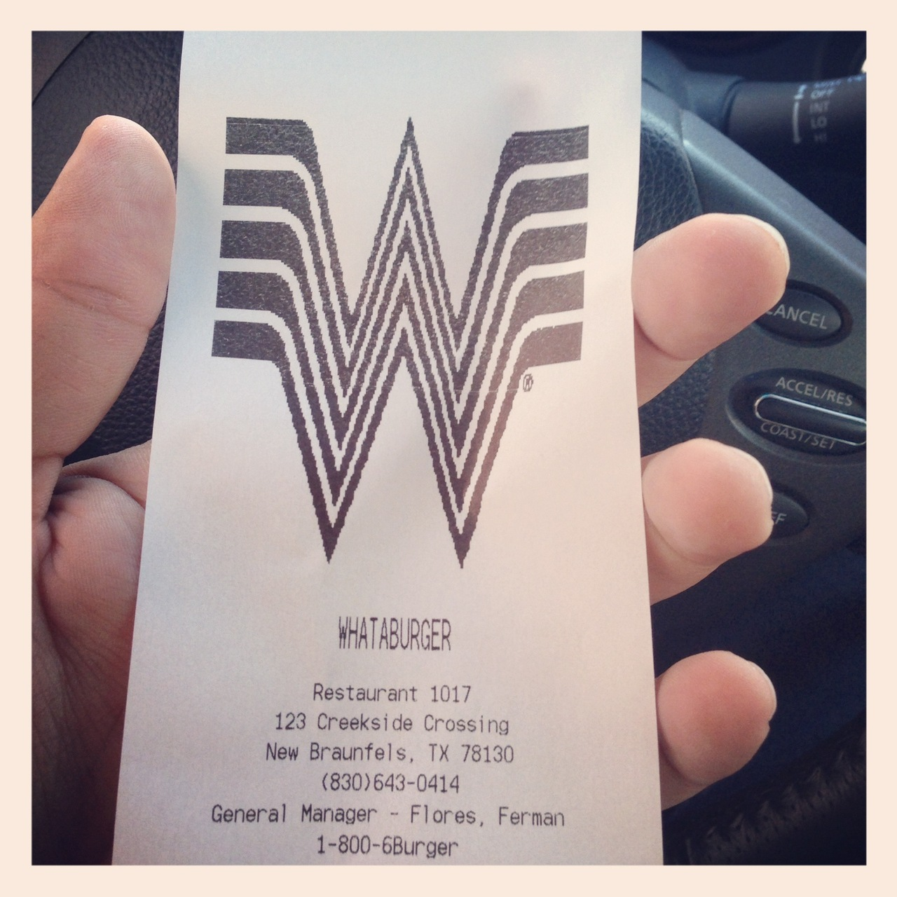 Stopped at a local Whataburger for lunch today and the thermal printer decided to drop the oversized logo on me.