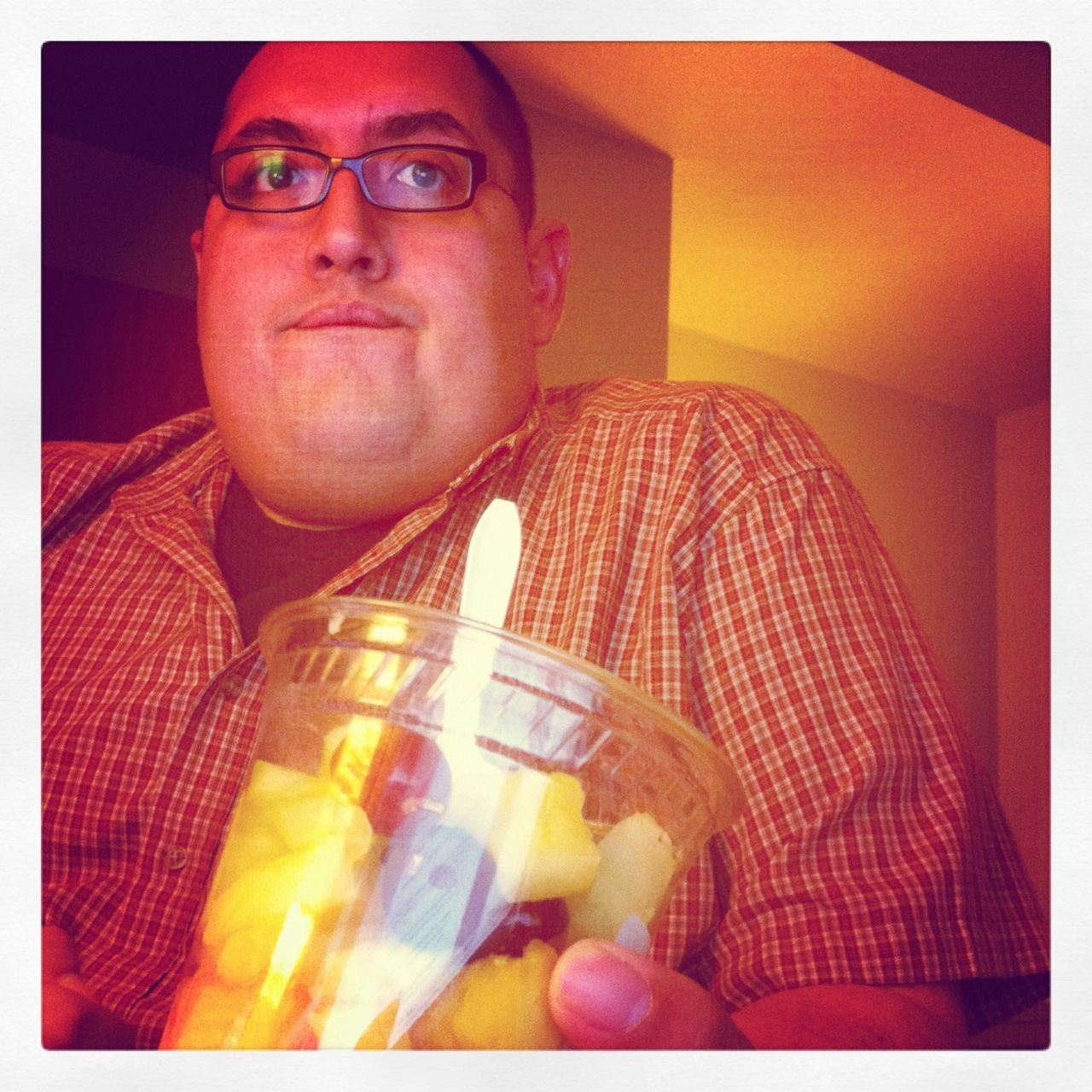 Took in a couple of things to eat while at work today…  one of which was this awesome fruit cup.   All in all, it was pretty rewarding.  The cantaloupe was a little weak tho'.