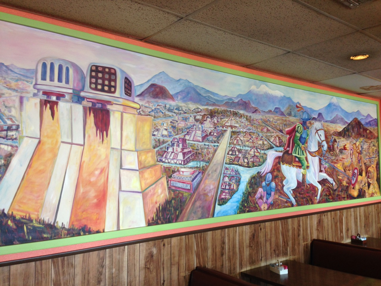 Shout out to the Waco artist who has colorfully depicted Cortez over the Aztecs…. Extermination of my people aside, they make a mean plate of bean and cheese nachos?