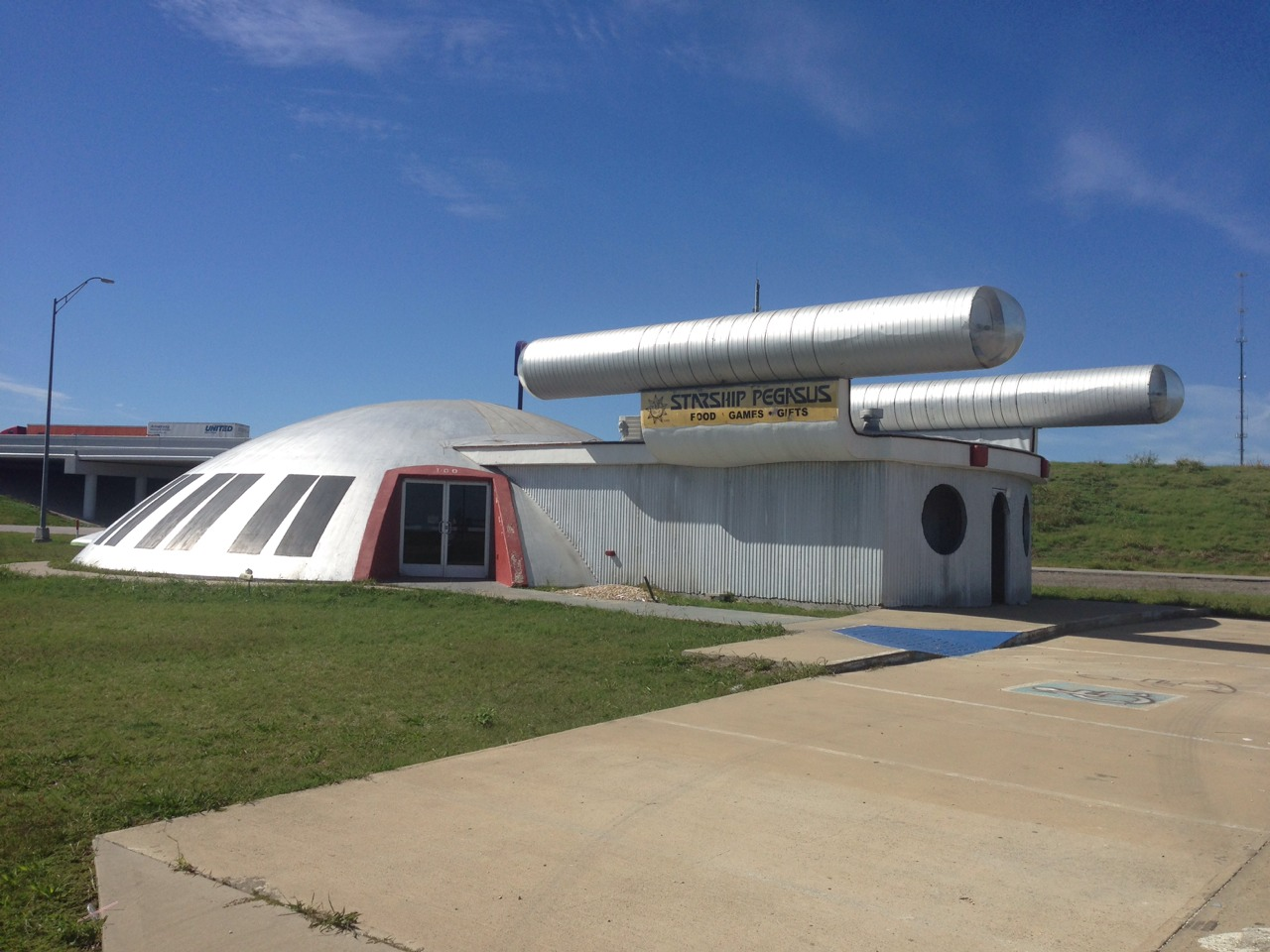 Who knew that Italy, Texas would have so much to offer?  This roadside attraction is known as the Starship Pegasus.  It served (at one time) as a game room (undoubtably a pedophile lair) of some kind.  It's in the shape of a Star Trek Enterprise…