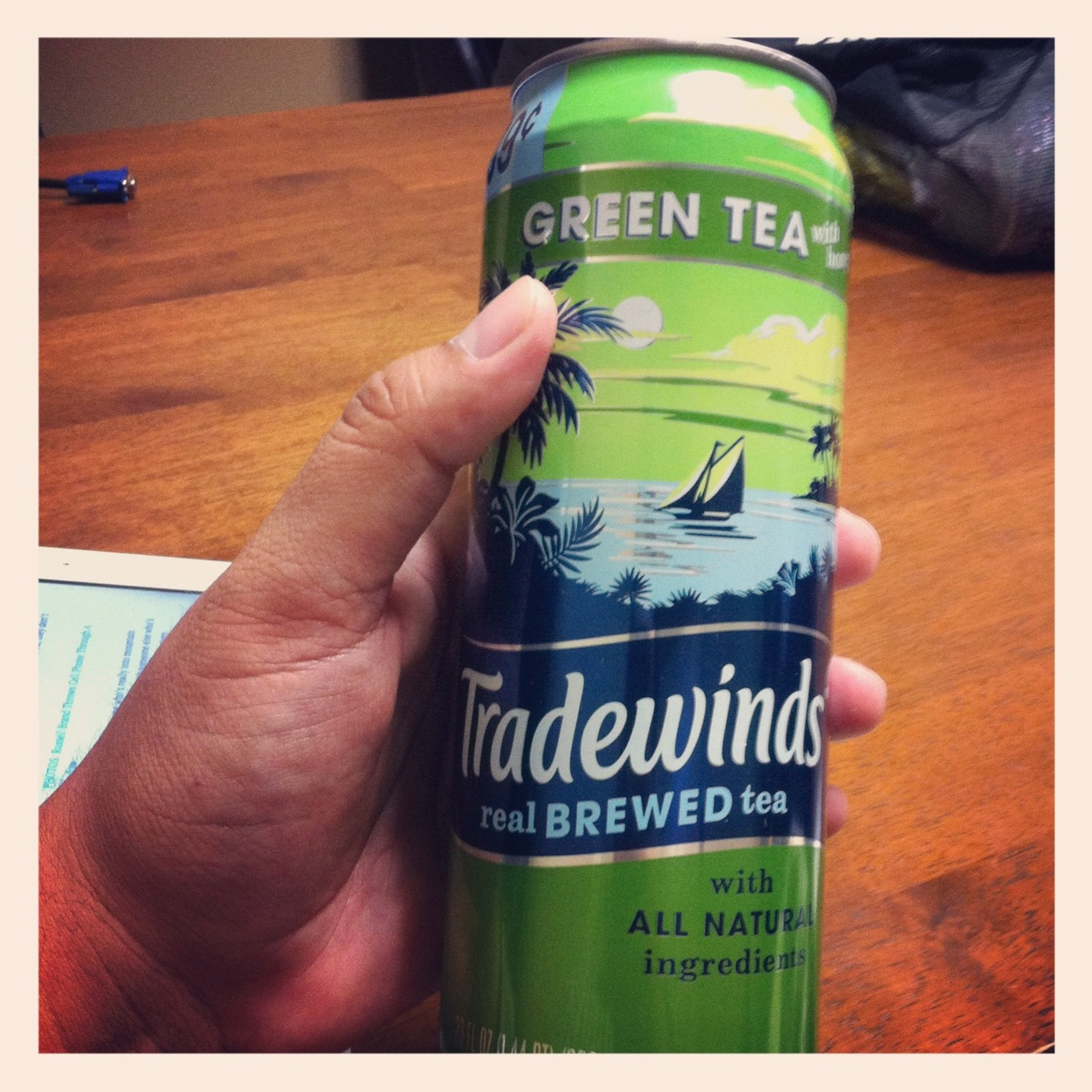 One of the perks of working with my friend Eric at work is that we go out of our way every day to introduce each other to bottled/canned tea. Tradewinds is one I've seen a few times at the store but hadn't picked it up because it reminded me of a liquor store I used to frequent in Detroit on Livernoise. Much to my surprise, the Green Tea is pretty good.