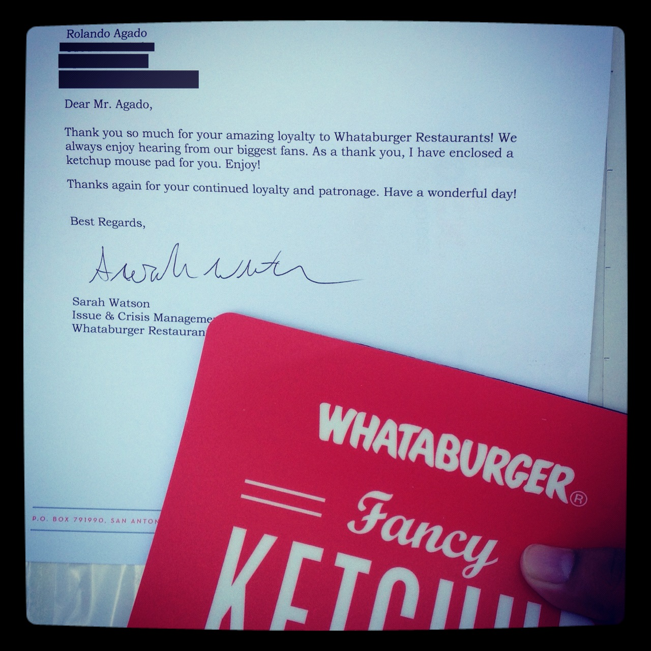OK… so I need to explain how this Free Whataburger mousepad happened. A few weeks ago, I'm having drinks with a designer I've been working with for Rally De Los Muertos. While we're talking shop, he lets me know that the design house: McGarrah Jessee is working on the artwork for his upcoming album (Blackbird Sing) due sometime soon. I was familiar with the design house because of their work with Whataburger (burger chain) and my desire to have a Ketchup Mouse Pad from their website for like 5 years. I decide to visit the site last week and I learned that they no longer have the mouse pad I want. I write them, hear nothing and then receive this awesome care package. =w= for life.