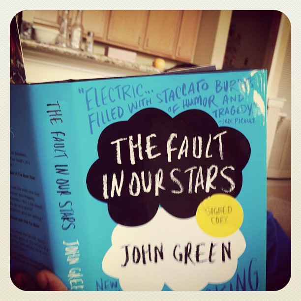 "While out running some quick errands this morning I picked up a copy of John Green's latest effort  "" The Fault In Our Stars ""…    Did so largely in part to have something to read while I plow thru a lot of laundry at the apartment…  but I also wanted to get under the skin of my friend Jaime who recently tweeted that his copy had been lost in transit to his house.   I got word this afternoon that his copy arrived safely but he won't get around to reading it till this evening.   I'm a few chapters in and I must say that I'm enjoying it verily.  I'm not at all familiar with the author but he's apparently well regarded.  This may move me enough to check out some of his earlier work."